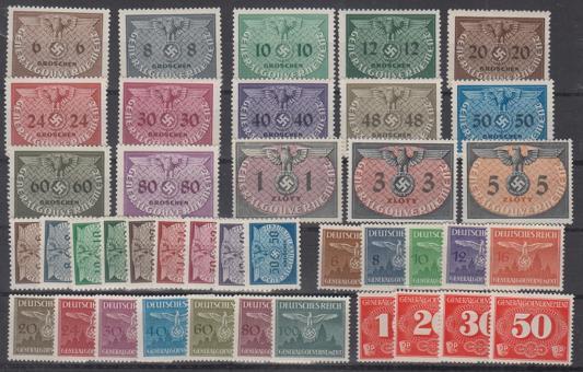 001 - Generalgouvernement Dienst Nr. 1-36 und Porto 1-4