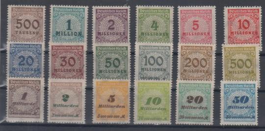 313 - Deutsches Reich Infla Nr. 313 A - 330 A