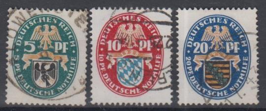 375 - Deutsches Reich Nothilfe Nr. 375 - 377