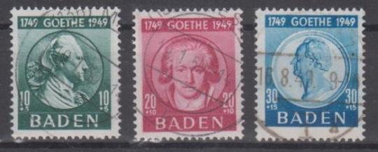 47 - Frz. Zone Baden Goethe Nr. 47 - 49